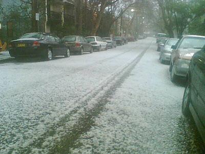 Hail Storm in Nickson Street, Surry Hills