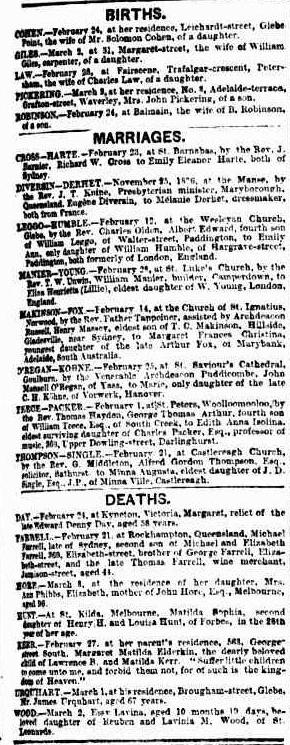 Death of Elizabeth Hore, Sydney Morning Herald