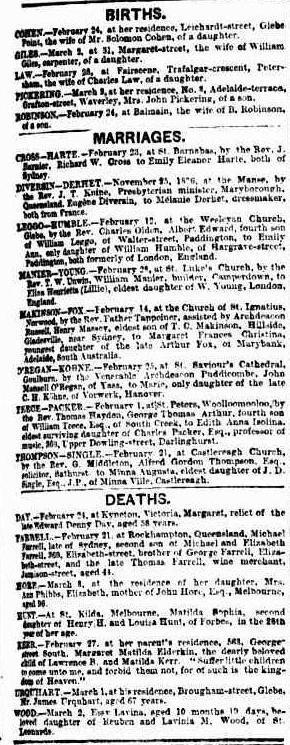 Death of Elizabeth Hore, Sydney Morning Herald