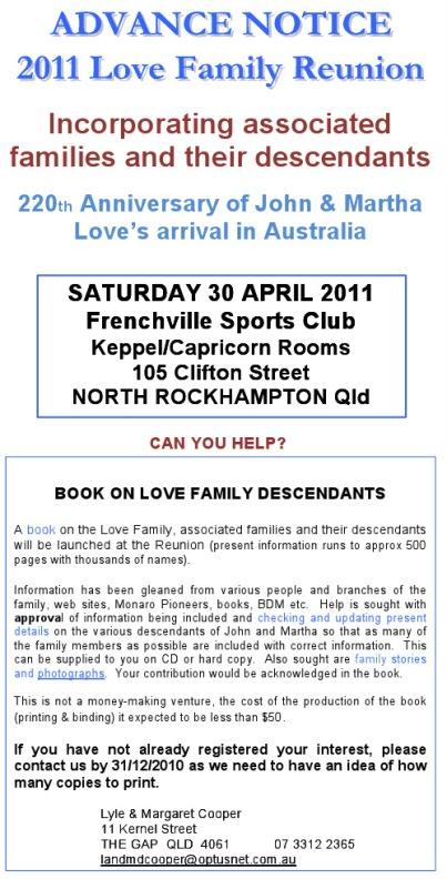 ADVANCE NOTICE OF LOVE FAMILY REUNION