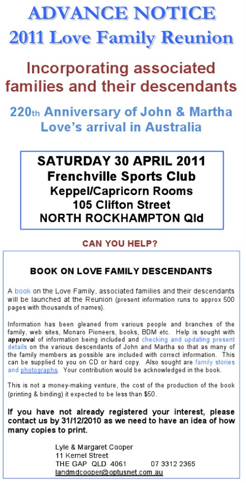 ADVANCE NOTICE OF LOVE FAMILY REUNION