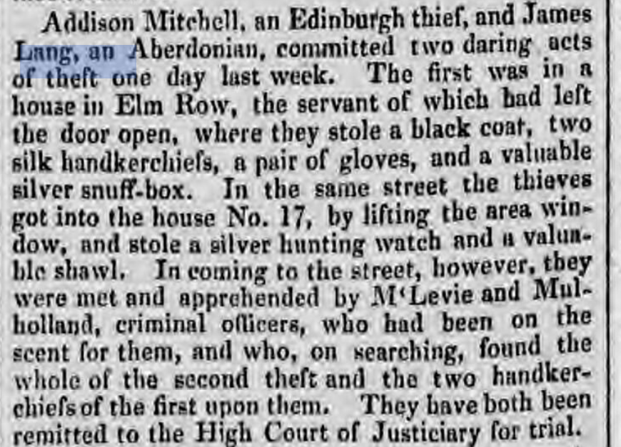 """The """"Caledonian Mercury"""" of Monday 24 August, 1835"""