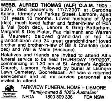 Alf Webb Funeral