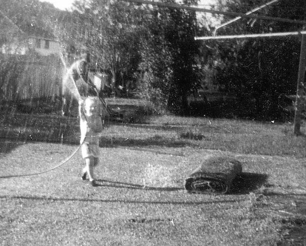 A photograph of me, James O'Brien taken in the backyard of 21 Kyogle Street, South Lismore in the late 1960s.