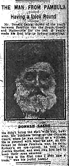 Donald Laing, as featured in The Evening News on June 10, 1921. Mr Donald Laing, driver of the coach between Pambula on the far South Coast and Nethercote for the last 42 years made his first trip to Sydney yesterday. He didnt bring the mail with him, however, his business being at the Divorce Court where he was called as a witness. He is pleased with what he saw so different to things Pambula way, he said Sydneys an eye opener he told Mr Justice Gordon and men like him had to keep their eyes skinned. This is the first time I ever saw a tram, was his joyful boast.