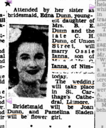 Edna Dunn marries Ossie Ianna in Northern Star Saturday 4 August 1951