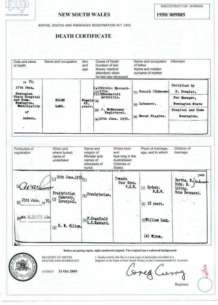 Death certificate of Ellen Laing (Lang), Sydney 1950