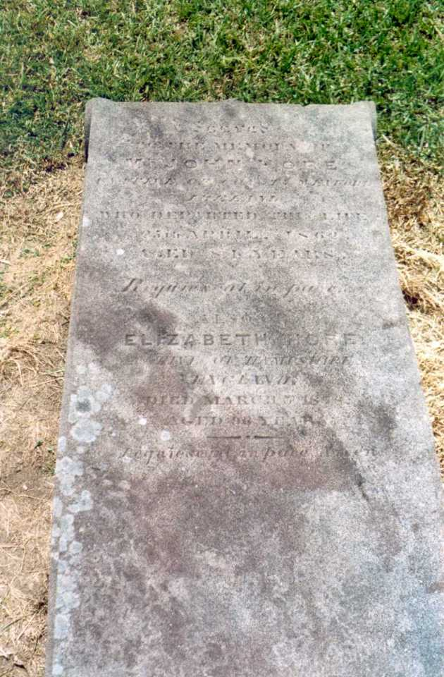 Grave of John and Elizabeth Hore. Sadly, in changing computers etc, I cannot locate the source for this photograph. If you're the source, please comment below and I will acknowledge your assistance immediately.