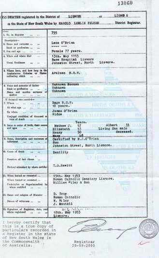 Lena Noonan (O'Brien) death certificate