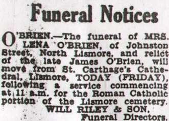 Lena O'Brien funeral announcement