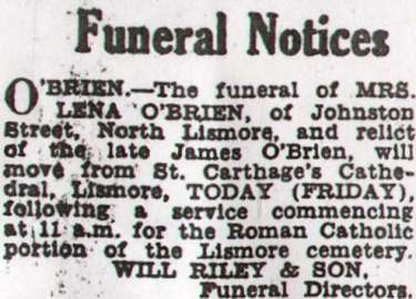 Lena O'Brien funeral announcement