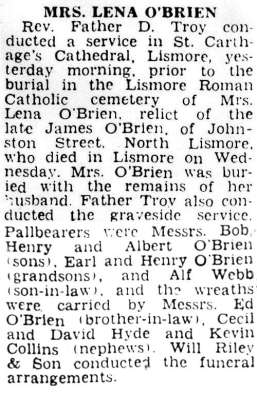 Lena O'Brien obituary
