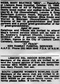 Mary Beatrice OBrien Funeral