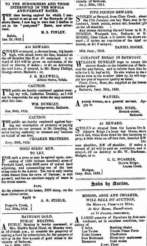 Maurice Lynch bootmaker in the Bathurst Free Press and Mining Journal 31 January 1852.jpg