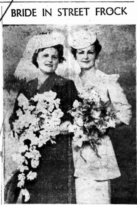 "A blue crepe street-length frock with white accessories was worn by Mrs. Florence May O'Brien, daughter of 'Mr. and Mrs. R. Spinks, of 49 Tweed Street, Lismore, for her wedding to James Douglas Sowter, son of Mrs. M. Sowter, of Goonengerry. They were married in St. Andrew's Church of England, Lismore, by Archdeacon Benyon, at 7.30 on Saturday night. Given away by her father, the bride carried a bouquet of white roses and gladioli and also wore a white straw hat. She was attended by Mrs Clare : Jones, wearing a pink crepe street-length frock with black accessories and carrying a bouquet of pink roses and gladioli. The groom was attended by Douglas Gibson. ""Love Everlasting"" was sung by soloist, Mrs. C. Walker, in the church. Mesdames Spinks and Sowter received guests at a reception held at the Daffodil Tea Rooms. They will make their home at Goonengerry after a honeymoon at Coolangatta."