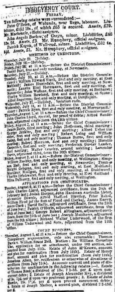 On July 20, 1872, The Sydney Morning Herald reported Peter on a list of people undergoing insolvency proceedings.