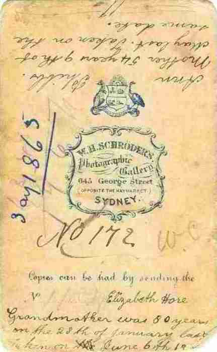 Reverse of Elizabeth Hore and Ann Phibbs photo from 1865 thanks to Elizabeth Friederich