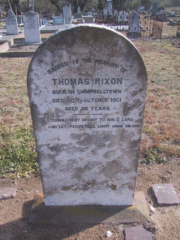 Thomas Rixon grave at Bombala Cemetery