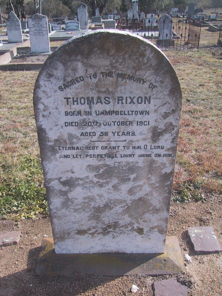 Thomas Rixon grave at Bombala Cemetery