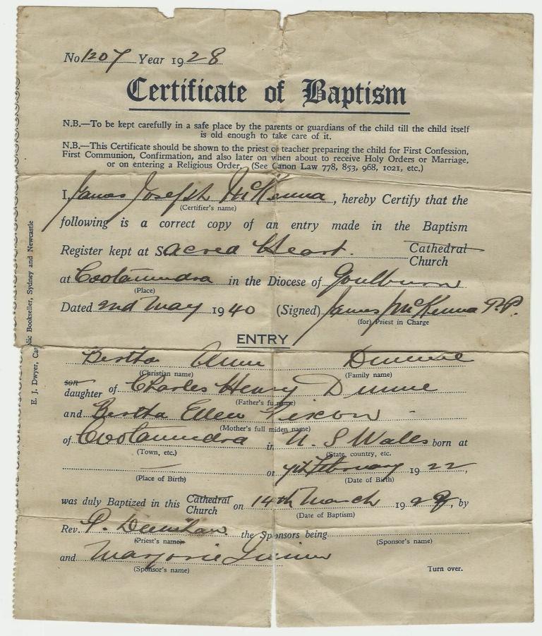 Baptism Certificate for Bertha Ann Dunn