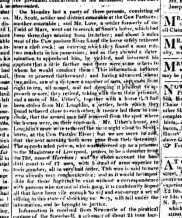 On Monday last a party of three persons, consisting of Mr. Scott, settler and district constable at the Cow Pastures ; another constable ; and Mr. Love, a settler formerly of the Field of Mars, went out in search of Scott's horse, which had beep three days missing from its tether; and about 5 miles west of the Cow Pasture river found the horse safely tethered near a clef rock, on entering which they found a man with two muskets in his possession; and as they shewed a determination to apprehend him, he yielded, and informed his captors that a little further west there were some others to whom he would conduct them. This information induced them to proceed thitherward, and having advanced about two miles, saw at a distance a number of men, supposed frtom eight to ten, all armed, and not deeming it prudent to approach near, they retired, taking with them their prisoner, and a mare of Mr Uther's, together with a horse that had been stolen from Mr Loughlin, a settler, both of which they found tethered close to each other, and licence led them to conclude, that the armed men had removed from the sport where the horses were on their approach. Mr Uther's horse, and Loughlin's mare were tethered the same night close to Scott's horse at the Cowpasture River; but we are sorry to add the next morning both were gone from their fastenings. The apprehended person who was delivered up as a prisoner to the Magistrate of Liverpool, proves to be a deserted from the 73rd, named Harrison, and by whose account the banditi consists of 17 men.