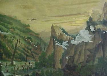 """In 1889, following a cricket match at Millpoint Pass, when Towamba defeated nearby Pericoe, members of the losing team returned with guns to set about killing the victors. A reliable account of what occurred is unavailable, but this painting by William Laing at the Eden Killer Whale Museum provides, at least, a record of a bizarre event. In her book about Towamba, """"The Forgotten Corner Interviews"""" Kate Clery asks Gloria Grant and Shirley Sproates about the origin of the painting. Gloria believes the painting may have been by William Laing, the eldest son of James and Isabella."""