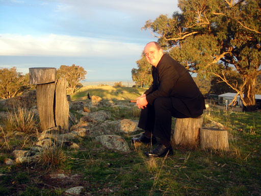 Dressed for a funeral, at the wake of a mate who lived on property outside Wagga Wagga.