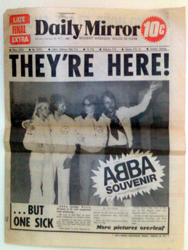 ABBA arrives in Australia. Front page of the Daily Mirror, February 28, 1977
