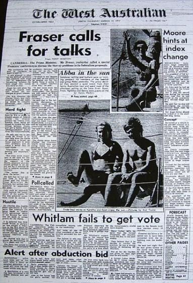 ABBA on the front page of The West Australian when they arrived in Perth in 1977