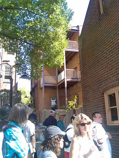 In the laneway between Gloucester and Cumberland Streets, The Rocks, an example on the right of housing which survived the 1900-1901 plague which infected the area.