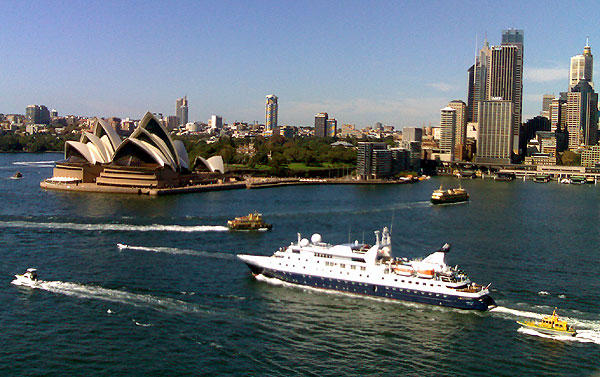 The view from the pedestrian walkway on the Sydney Harbour Bridge.