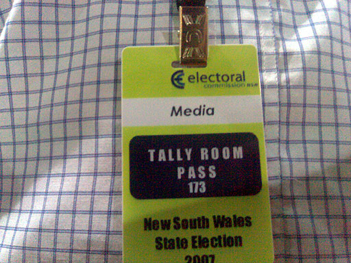 Media pass for the NSW Election Tally Room