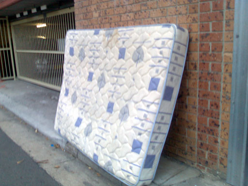 A discarded mattress in my back lane, April 2007.