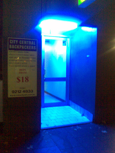 The blue light at the entrance of this backpacker hostel in Sydney is pretty uninviting, don't you think?