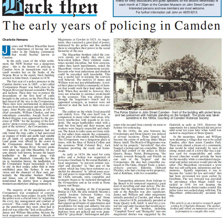 Early years of policing in Camden in the District Reporter - May 25, 2009