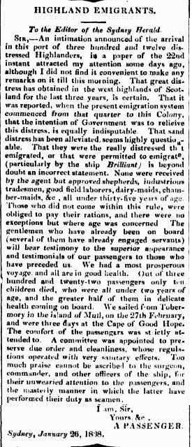 The Sydney Herald (NSW : 1831-1842), Monday 29 January 1838, page 3