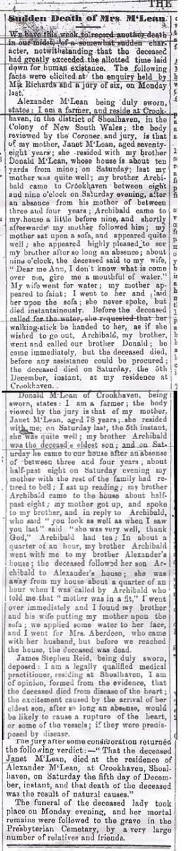 Sudden Death of Mrs McLean