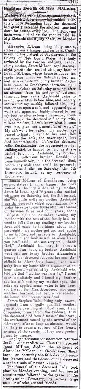 Sudden Death of Mrs McLean