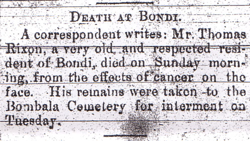 Thomas Rixon Death Notice