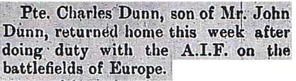 Charles Dunn Arrives Home