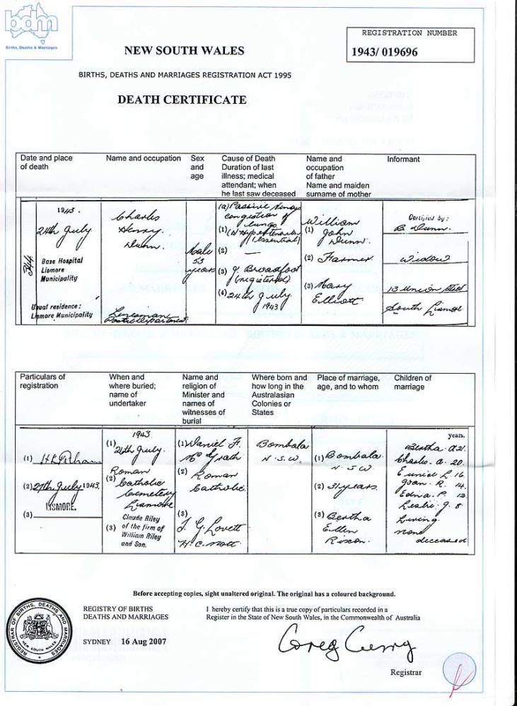 Charles Dunn Death Certificate