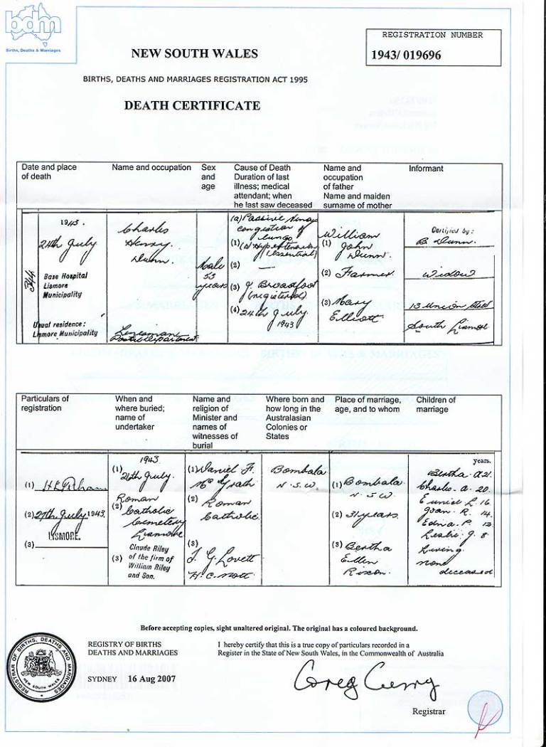 Charles Dunn Death Certificate