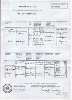 James Goward Death Certificate