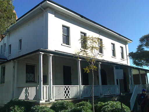 The first main stop was one of Surry Hill's hidden delights, a house designed by Francis Greenway. Although a classic simple-lined Georgian house (the kind of house a five year old might draw), this house has the added influence of a verandah.