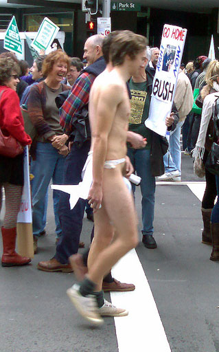 About the only thing that made me smile at today's Anti-Apec Protest in the city was the two naked guys with socks covering their genitals.