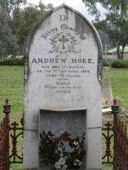 In loving memory of Andrew Hore who died at Mugwee on the 17th of April, 1890. Aged 70 years. Erected by his loving wife Jessie. (Thanks to Kellie Jones)
