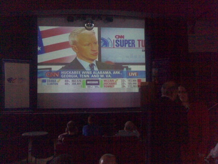 Anderson Cooper on the big screen for Super Tuesday at Manning Bar, Sydney University.