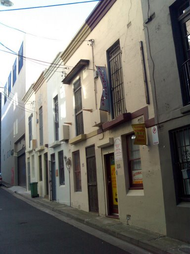 A typical workers terrace house in Surry Hills.