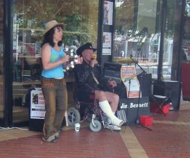 Busking with a broken leg in Tamworth