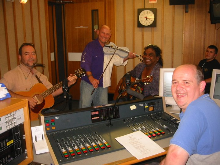 John Williamson, Pixie Jenkins, Warren H. Williams, James O'Brien at ABC Studio, Tamworth